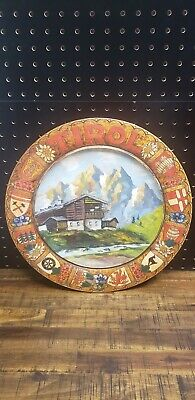 Antique Hand Painted Pokerwork Wooden Plates Depicting Tirol