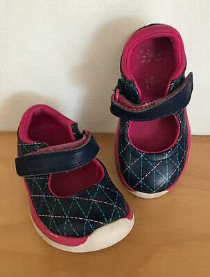 Girls Clarks Leather Shoes, First Shoes, Infant Toddler Size 5F Eur 21 GC