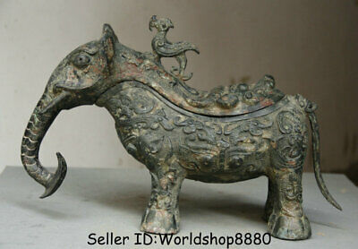 "11.2""Antique Chinese Bronze Ware Dynasty Elephant Zun Birds Lids Drinking Vessel"