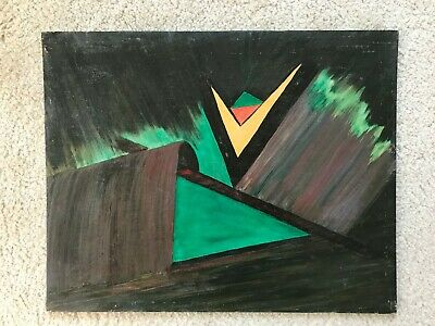 Vtg Geometric Abstract Oil Painting on Canvas Board 20x16 in. 51x41 cm. 1 of 2