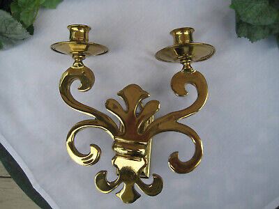 Made in England DOUBLE ARM SCONCE WALL CANDLE HOLDER  ORNATE SOLID POLISH BRASS
