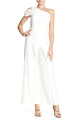 Marina Women's Size 16 Ivory One Shoulder Sleeve Popover Pant Jumpsuit AS16