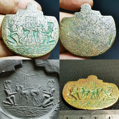 Near Eastern Old Wonderful excellent seal intaglio Bronze Amulet  # 78
