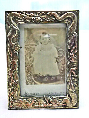 Vintage Silverplate Chinese Dragon Miniature Easel Back Picture Frame w Photo