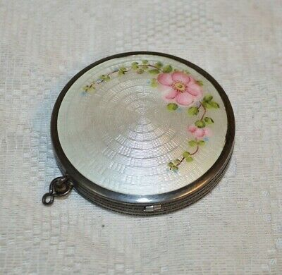 Antique R&G Company Sterling Silver and Guilloche Enamel Makeup Compact