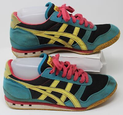 Asics Onitsuka Tiger Ultimate 81 Shoes HN567 Womens Size 7 Pink Yellow Teal Blue