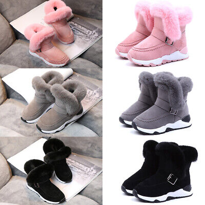 UNISEX KIDS GIRLS CHILDREN WARM WINTER ANKLE FUR LINED GRIP SOLE NUGG BOOTS SIZE