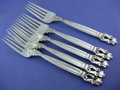 "Sterling GEORG JENSEN 6 5/8"" Luncheon Fork ACORN Denmark ~no mono ~ $65 each"
