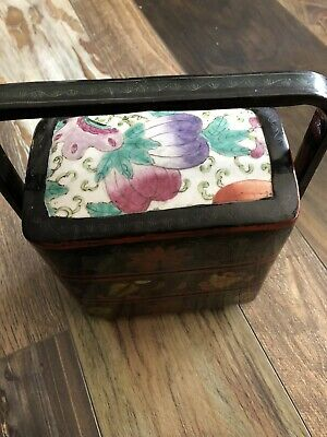 Vtg CHINESE CERAMIC Tile STACKING NESTING WEDDING LACQUER BOX Sushi Food Handle
