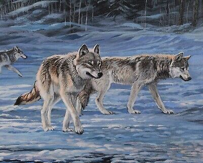 Lissa Calvert Original Painting Timber Wolf Pack in Winter Canadian Listed