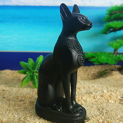 "4.2"" Egyptian Goddess Black Cat Bastet Figurine Resin Statue Decor Collection"