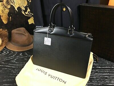 Louis Vuitton France Authentic Black Epi Leather Business Handbag Bag Riviera