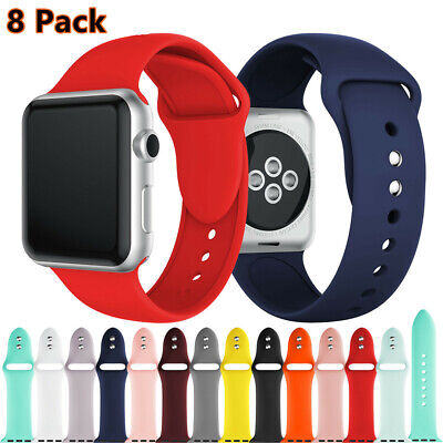 8PACK Soft Silicone Watch Bracelet Strap For Apple iWatch Band Series 5 4 3 2 1