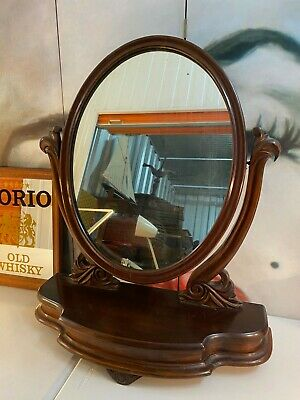 Large Antique 19th Century Victorian English Mahogany Swing Dresser Mirror 84cm