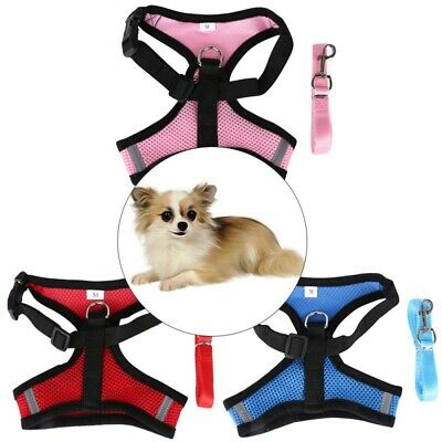 3 Sizes Mesh Breathable Dog Harness and Leads Pet Puppy Adjustable Leash Vest CA