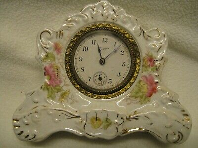 New Haven Clock Company Vintage Porcelain Mantle Wind-up Clock not running AS/IS