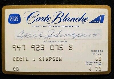Carte Blanche Affiliate of Avco Corporation exp. 1973 ♡Free Shipping♡cc87
