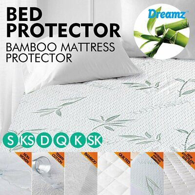 Mattress Cover Fitted Bed Protector Pad Topper Waterproof Bamboo Terry Cotton EC