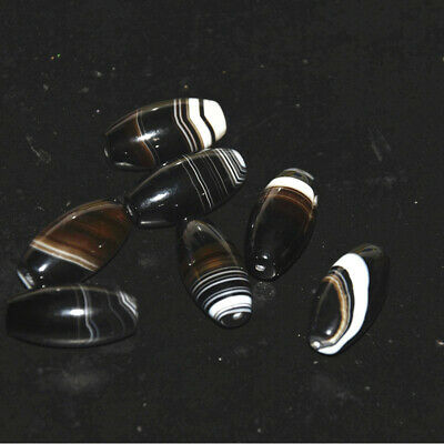 7pcs  Natural Uruguayan Vintage Black and White Banded Agate  beads collection