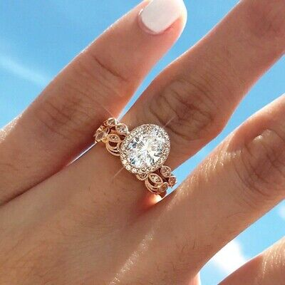 Women Unique Gift 14K Gold Filled Rings Ring Set Jewelry Round Cubic Zirconia