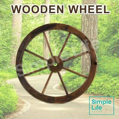 60cm Large Wooden Wheel Rustic Garden Decor Timber Feature Outdoor Wagon