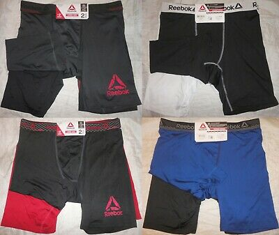 "NWT Reebok Men's Performance Long Leg (9"") Boxer Briefs Underwear 2 Pack"