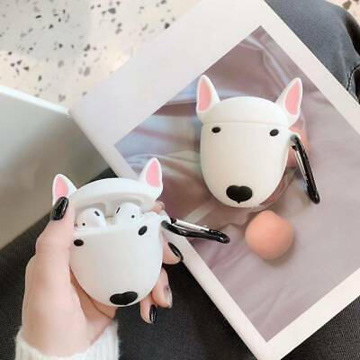 Funny Bull Terrier Dog Cartoon Silicone Protective Cover For Apple Airpods HOT