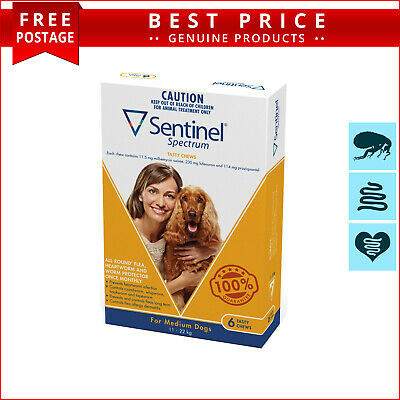SENTINEL Spectrum Heartworm Flea treatment 6 Doses for Dogs 11 to 22 Kg YELLOW
