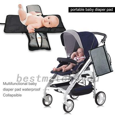 Baby Travel Changing Mat Folding Diaper Waterproof Mat With Net Pockets AU Local