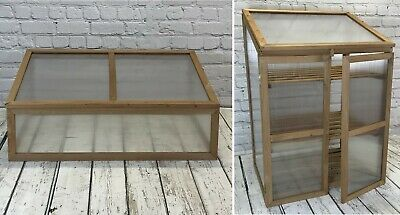 Wooden Growhouse Cold Frame Large Mini Greenhouse Polycarbonate Garden Plant