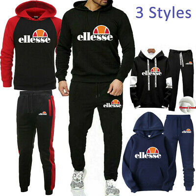 Mens Full Tracksuit Set Hoodie Hooded Top Bottoms Joggers Jogging Suit Sport Gym