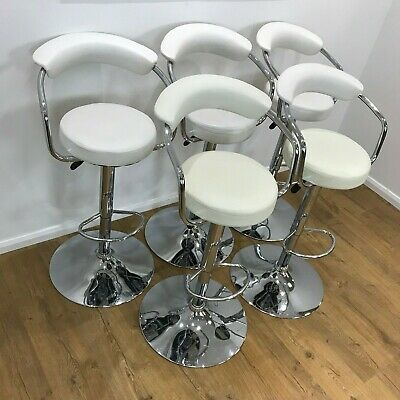 Cream/White Faux Leather Height Adjustable Bar Kitchen Breakfast Stools Chrome