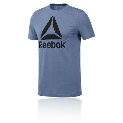 Reebok Mens QQR Stacked T Shirt Tee Top - Purple Sports Gym Breathable