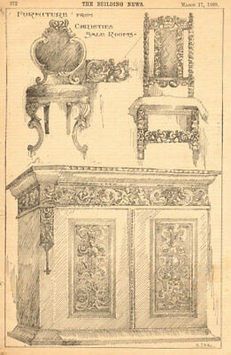 Furniture from Christies Sale Rooms. Auctions 1899 old antique print picture