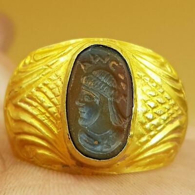 Roman Ancient 22k carat gold signet ring with Agate  intaglio stone 6.37 gr # 80