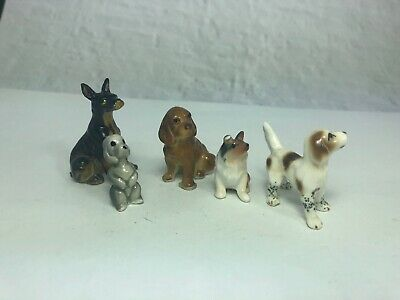 Lot Of 5 Miniature Bone China/ 1 Resin Puppies Dogs Vintage 12A