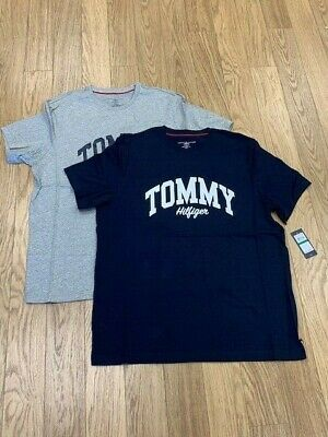 New-Men's Tommy Hilfiger Short Sleeve Tee, Grey & Navy, Large,  #09T3711  $24.95