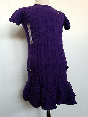 Ralph Lauren Girls Cable Sweater Dress Purple Short Sleeve Size 6 NWT