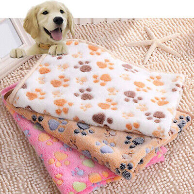 Warm Pet Mat Bone Paw Print Cat Dog Puppy Fleece Soft Blanket Bed Cushion New