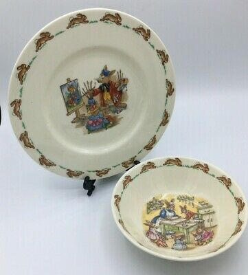 Bunnykins Royal Doulton Plate and Cereal Bowl 1970's Vintage 2 Piece Child Set