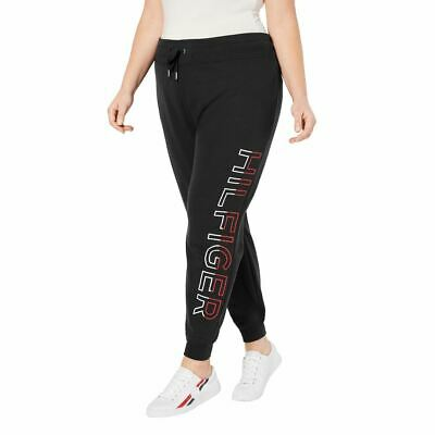 TOMMY HILFIGER SPORT Women's Plus Logo Fleece Drawstring Joggers Pants TEDO