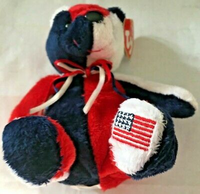 Free Shipping MWMT TY Beanie Baby Patriot The Bear Flag On Right Foot USA