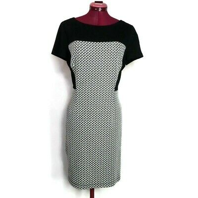 Adrianna Papell Womens Dress 14 Black White Stretch Shift Lined Cap Sleeve