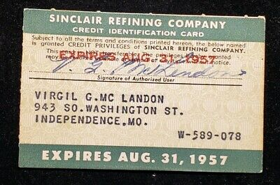 1957 Sinclair Refining Company Paper Credit Card ♡Free Shipping♡cc388♡ RARE