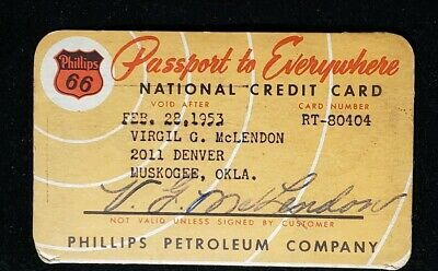 1953 Phillips 66 National Paper Credit Card♡Free Shipping♡cc392♡