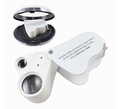 30X 60X Magnifying Loupe Jewelry Jewelers Pocket Magnifier Loop Eye Glass w/ LED
