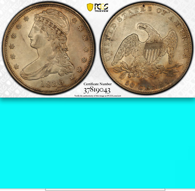 1836 Reeded Edge PCGS AU58 Mintage 1,200 █ $7,500 CU ██ KEY Bust Half Dollar 50C