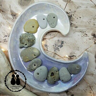 10 Genuine Lake Michigan Naturally Holey Odin Hag Stones Wishing Stones #1050