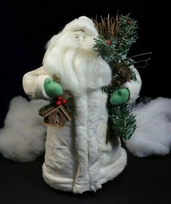 "Large White Santa with Bird House Tree Topper 13.5"" approx."