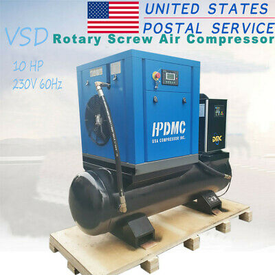 7.5kw 10HP 39cfm VSD Electric Energy Saving Rotary Screw Air Compressor&Tank